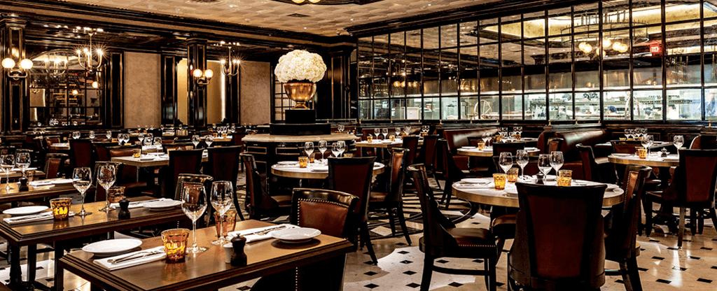 Interior of Bardot Brasserie restaurant at ARIA.