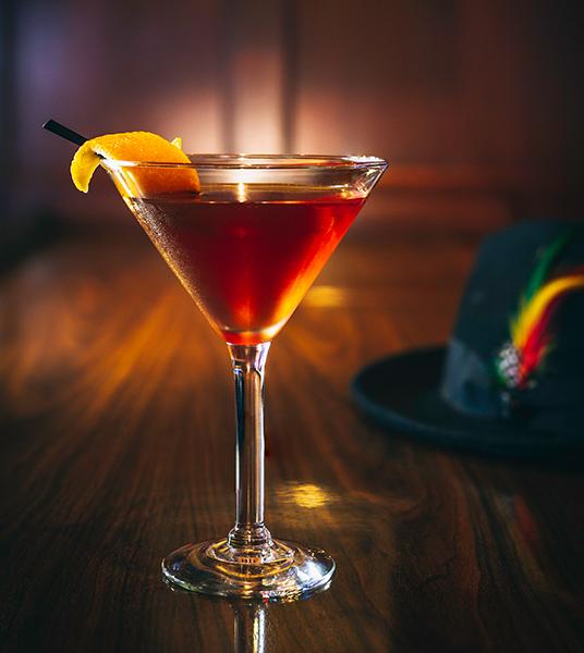 Closeup of Manhattan in a Cocktail Glass