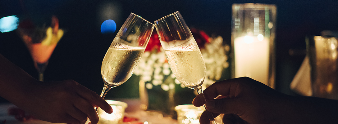 Couple Toasting Champagne on Valentine's Day in Las Vegas