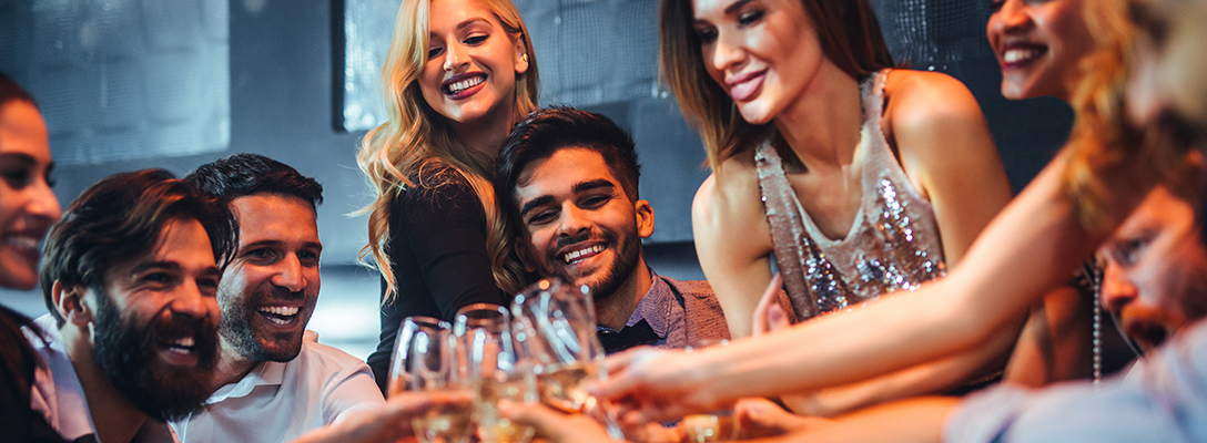 Men Celebrating Vegas Bachelor Party with Women in Club