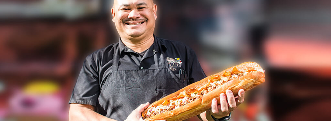 Chef Rex Holding Project BBQ Sandwich